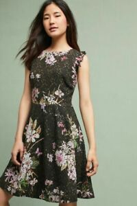 Eri + Ali Anthropologie Neveah Black Green Floral Lace Fit and Flare Dress Sz 8