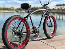 Fat Tire Beach Cruiser Bike- 26X3 Flat Black w Red 57mm Rims- 7 speed - SIKK