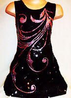 GIRLS 60s SPARKLY BLACK SEQUIN PINK BURLESQUE FEATHER PATTERN DANCE PARTY DRESS