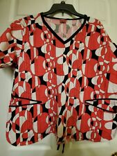 "Dickies Scrub Top size Xl-Hot Pink/White/Black Geometric-Chest 25""/Length 27"""