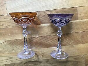 Römergläser, Kelche, Kristall, Glas, 20 cm, orange, lila, grün