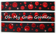 7/8 CRACKLE DOTS RED HOLOGRAM GROSGRAIN RIBBON 4 CHEER BOW HAIRBOW BLACK