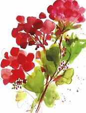 Red Geranium Boxed Blank Note Cards-- Set of 8 with Red Envelopes