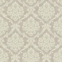 Wallpaper Designer Textured Ink Cream Damask on Pearlized Cream Faux