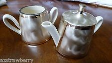 VTG Western Germany White Porcelain Tea Pot & Sugar Bowl Silver Plate cover