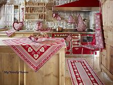 TOVAGLIA 140x140cm Country GALTEX St. Moritz Rosso Cuori GOBELIN Landhaus QUADRETTINI
