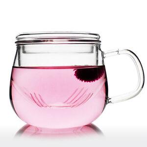 Glass Infuser Tea Mug Cup with Tea Strainer 300ml Handmade Gift - Olvera Unihom