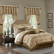 24pc Brown & Gold Paisley Comforter Set, Sheets, Pillows, Curtains AND More