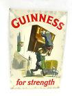 VINTAGE GUINNESS STOUT TIN OVER CARDBOARD SIGN BEER - GUINNESS for Strength