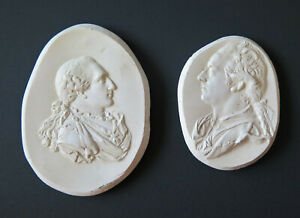 TWO ANTIQUE PLASTER CAMEO PORTRAIT MEDALLIONS KING LOUIS XVI & OTHER INTAGLIOS