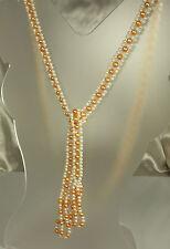 "1920s GLASS PEARL FLAPPER LARIAT Necklace~44.5""~Tangerine & White~TASSELS~EX"