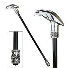 Art Deco Piercing Presence Crook Handle Polish Crome Eagle Walking Stick Cane