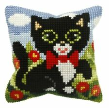 4ct Cross Stitch Kit - Orchidea - Cute Cat - Cushion Front 25.5 x 25.5cm Printed