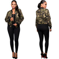 Spring Womens Camouflage College Jacket Casual Short Baseball Sport Coat Outwear