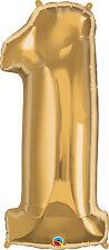Ballon Chiffre 1 Qualatex couleur Or Métal