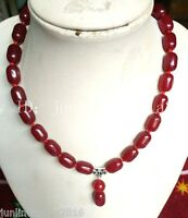 10x14mm Natural Red Ruby Cylinder Pendant Gemstone Necklace 18'' AAA