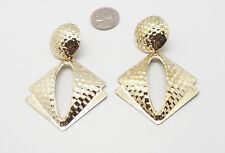 """RTC 3"""" LARGE HAMMERED TEXTURED GOLD METAL DROP DANGLE CUSHION BACK EARRINGS NEW"""