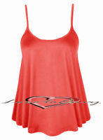 New Ladies Elegant Plain Strappy Swing Top Casual Cami Vest Top £4.99-£5.99.