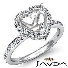 Diamond Engagement Heart Ring 18k White Gold Halo Pave Setting Semi Mount 1Ct