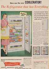 1952 COOLERATOR vintage print ad pink dress part-time housewife refrigerator
