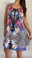 CITY CHIC Multicoloured Floral Print Sleeveless Shift Dress Plus Size M AU 18
