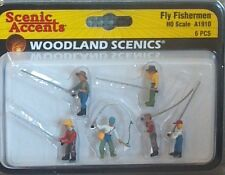 Fly Fishing Men Model Trains people figures HO Scale Woodland Scenics A1910