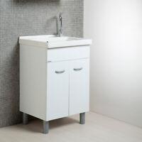 Lavanderia Mobile Lavatoio Bianco Mod. Onda con Vasca in Ceramica 60x50 cm