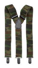Woodland Camo Unisex 3 Clips On Adjustable Elastic Braces Y Belt Suspenders