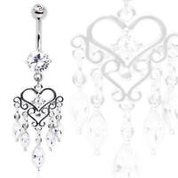 316L Surgical Steel Gemmed Chandelier Heart Dangle Belly Button Navel Ring