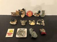Lot Of 13 Vintage Cat Kitten Fridge Magnets