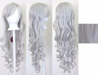 80CM Fashion Women Lady Long Wavy Curly Hair Anime Cosplay Party Wig Wigs Silver
