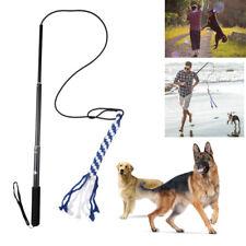 Extendable Dog Flirt Pole w/ Braided Cotton Lure - Dog Toy Tail Teaser Exerciser
