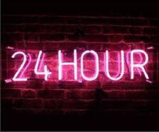 "New 24 Hour Pink For Gift Bar Light Lamp Artwork Handmade Acrylic Neon Sign 14"""