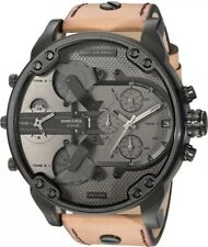 2018 NEW DIESEL MR. DADDY 2.0 MENS WATCH DZ7406 BROWN LEATHER STRAP CHRONO STEEL