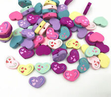 50pcs Wooden Beads Heart-shape Mix color DIY decoration Jewelry Accessories 20mm