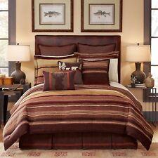 CROSCILL  $420 Queen Size Comforter Set WESTERN LODGE Burgundy Brown
