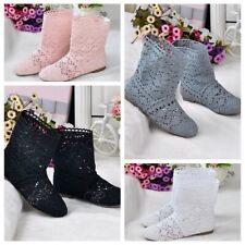 Womens Mesh Bohemian Summer Flat Cut Out Shoes Knitted Crochet Calf Short Boots