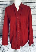 Women's Large Blouse Red Button Down Long Sleeves V Neck Collared Soft