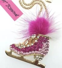 Pink Gold Crystals Christmas Betsey Johnson Necklace Ice Skate