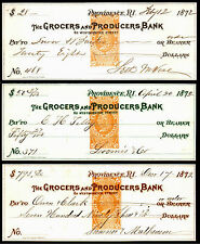 US Revenue Stamps: RN-E4, Three Colors Grocers and Producers Bank, RI, 1872