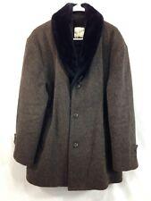 VTG BW Sportswear Heavy Wool Car Over Coat Mens 46 Brown Faux Fur Trim Canada