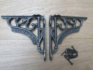 "PAIR OF 6"" J DUCKETT rustic vintage cast iron shelf support brackets vintage"