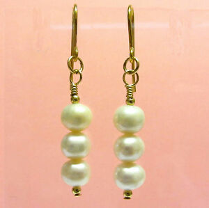9ct Gold White Pearl Drop Earrings, Gold Hooks & Beads, Natural Freshwater Pearl