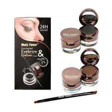 6pcs Eyebrow Powder Eyeliner Gel Set With Definer Brush Mirror Waterproof Kit x#