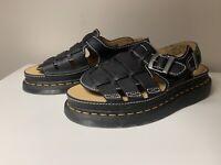 Dr Doc Martens Arc Fisherman Sandals Black Leather Shoes 8092 Mens Size 10 Mens