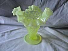 FENTON - Vintage Yellow Vaseline Glass Hobnail Scalloped Vase