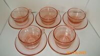 Pink Depression Glass Cups and Saucers 5 Cups 5 Saucers Antique EUC