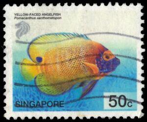 "SINGAPORE 994 - Yellow-faced Angelfish ""Pomacanthus xanthometopon"" (pb37338)"