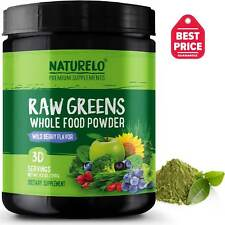 NATURELO Raw Greens Superfood Powder - Wild Berry Flavor - 30 Servings