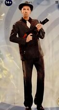 New 2 Pc Man Gangster Black suit Halloween adult Boy costume cosplay party Sz L